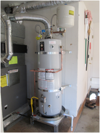 the new hot water heater system was brought up to code with a water heater stand a drain pan earthquake strapping required for our area a new expansion - New Hot Water Heater