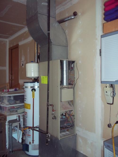old gas furnace with difficult filter access